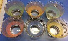 Verres anciens en verre granité - liseret doré - Forme coupelle - 6U