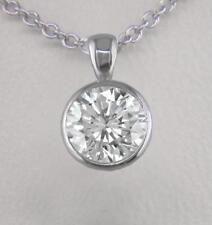 Diamond Solitaire and Platinum Pendant 0.70ct Certified D IF Ex Round Bezel Set