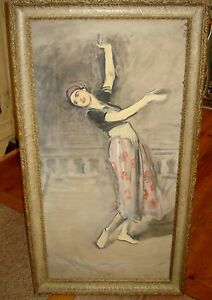 John Young Hunter Signed Art Deco Gypsy Dancing Girl Tempera on Board
