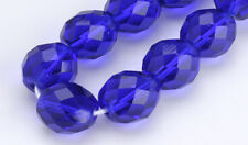 25 Multi Cut Cobalt Faceted Round Fire Polished Czech Glass Beads 10 MM