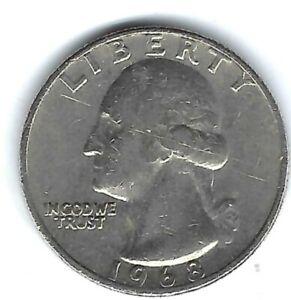 1968 Philadelphia Circulated Washington Quarter Coin!