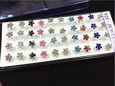 20 Pairs 925 Silver Plum Colors Women Crystal Rhinestone Ear Stud Earrings Gift