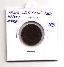 Regno d'Italia 2 centesimi 1861 Napoli rame  V.Emanuele II   BB    (m498)