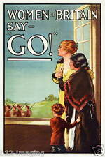 Ww1 GUERRA MONDIALE 1 Donne della Gran Bretagna reclutamento poster foto 100 anni 1914-2014