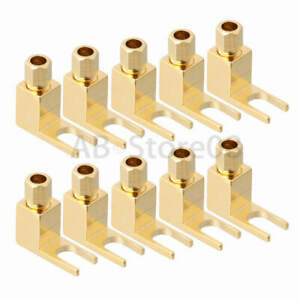 10PCS Hi-end Banana to Spade Adapter Plug Speaker Cable Connector