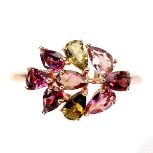 Unheated Pear Tourmaline Rhodolite Rose Gold Plate 925 Sterling Silver Ring