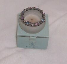 PartyLite Hydrangea Wreath Tealight Holder Frosted Glass and Pewter P7276