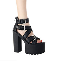 Women's High Block Heels Gladiator Roma Leather Platform Cut Out Sandals Shoes