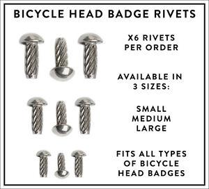 Pack of x6 Bicycle Head Badge Rivets Vintage Retro Steel Bike