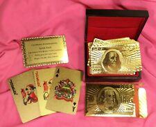999.9 Gold Novelty Playing Cards 24 Carat Gold Leaf 52 Poker Cards + 2 Joker