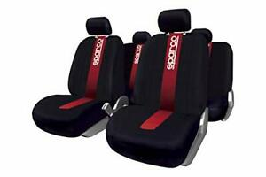 Sparco Complete Set Seat Covers, Black/Red Stripes