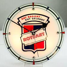 Werbe Wand.- Tisch Uhr Rotbart Rasierklingen 230V beleuchtet Vintage 50er Barber