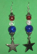 PATRIOTIC EARRINGS w/ STARS & RED/WHITE/BLUE GLASS BEADS-4th of JULY-HANDCRAFTED