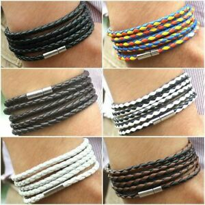 Mens Modern Viking Leather Norse Wrap Around Bracelet