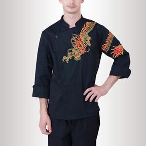 Women&Man Chef Coat Dragon Pattern Cook Jacket Work Uniform Outerwear Classic