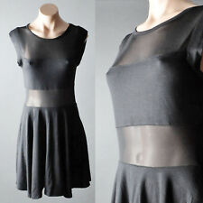 Black Womens Stretch Sexy Mesh Sheer Casual See Through Round Neck Mini Dress M