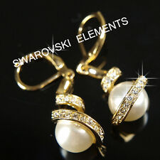 18K Pearls Yellow Gold Filled Earrings made with Swarovski Crystal Xmas  E470YG