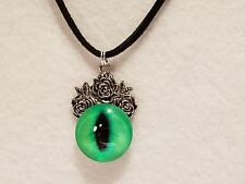 Silver Tone Rose Light Green Glass Dragon Monster Cat Eye Necklace - Jewelry