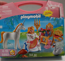NEW Playmobil # 5892 Unicorn Playset with Pink Take Along Case 34 pc set