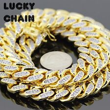 """26""""18K GOLD FINISH ICED OUT HEAVY CUBAN LINK CHAIN NECKLACE 15mm 325g 73"""