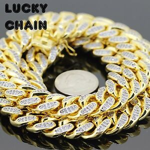 """26""""18K GOLD FINISH BLING OUT HEAVY CUBAN LINK CHAIN NECKLACE 15mm 325g 54"""