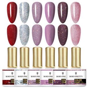BORN PRETTY 6Pcs 6/10ml Rose Gold Soak Off UV Gel Nail Polish Glitter Varnish