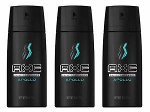 3 Axe Body Spray Apollo Deodorant Body Spray 4 Oz (3 Pack) - New - Free Shipping