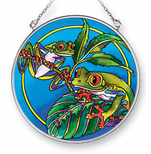 """AMIA STAINED GLASS SUNCATCHER 4.5"""" ROUND FROGS  #42429"""