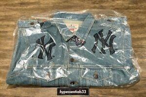 Supreme New York Yankees Denim Trucker Jacket Blue Small NEW In Hand. FAST SHIP
