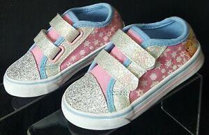 Disney Frozen Elsa & Anna Canvas Glittery/Crystal  Sneaker Shoes Toddler Size 7