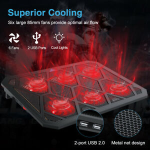 """Laptop Cooler Stand with 6 USB Powered Fans For 12-19"""" Quiet Gaming Cooling Pad"""