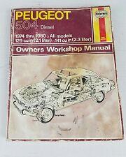 Peugeot 504 Diesel 1974 thru 1980 all models Haynes owners workshop manual Work