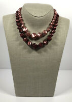 Vintage Necklace 2 Strands Graduated Pink Plastic Beads Hook Clasp Pretty Kitsch