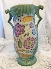 "Crown Devon 10"" Tall  Vase Two Handles Trophy Style Embossed Floral Design Green"