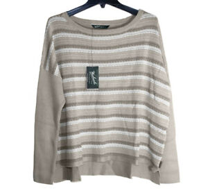 Woolrich - Womens L - NWT$75 - Beige/White Striped Arcana Cotton Sweater