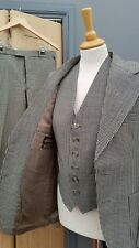 Men's 3 PIECE BLACK CHECK TWEED Wool VINTAGE  Burton SUIT 36R 30/32W 29.5L
