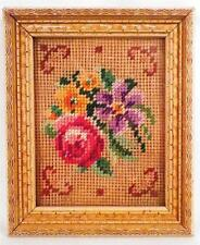 Vintage Flower Needlepoint Wood Frame Miniature Wall Hanging