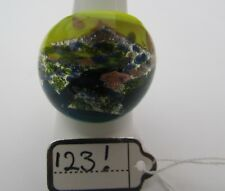Ring. Uk-.Q/R. Us-8.25. (123!) A Blue/Yellow/Silver/Gold Murano Style Glass