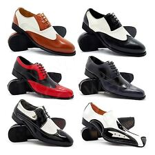 New Mens Two Tone Gangster Patent Leather Brogues Wingtip Spats Shoes Black Red