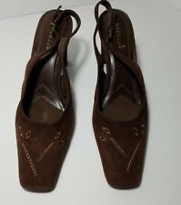 Danelle Womans Leather Shoe Square toe Brown Small Stacked Slingback heel size 8