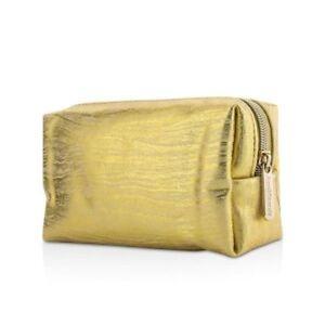 BARE MINERALS NEW GOLD WHITE SHIMMERY ZIPPER BM PULL  COMESTIC POUCH BAG TOTE