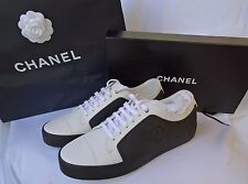 CHANEL 17P NEW MEN WHITE SNEAKERS CALFSKIN/GUM SHOES SIZE 43/10 B g32721 y52193