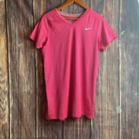 Nike Combat Womens T-Shirt Pink Stretch V Neck Short Sleeve Fitted Dri Fit XL
