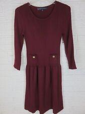 Anne Klein M 3/4 Sleeve Burgundy Wool Blend Sweater Dress