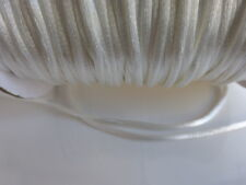 10 metres (10m) White 2mm Rattail Rat Tail Satin Nylon Threading Beading Cord