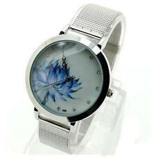 Ladies Fashion Silver Quartz Blue Flower Faced Silver Mesh Band Wrist Watch.