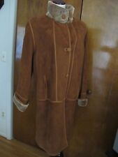 Women's Sheep Fur Brown Reversible Winter Coat made in Spain Size 44 USA 14