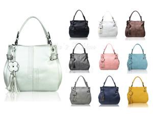 New Women Large Spacious Tote Hobo Handbag Shoulder Bag With Floral Tassel Charm