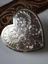 Vintage Western Cowgirl Etched Heart Belt Buckle Sterling Silver on Nickel Sss
