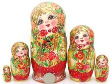 Russische Matrjoschkapuppen Matryoshka Rot Gold Brandmalerei Matt 5 Mamayeva